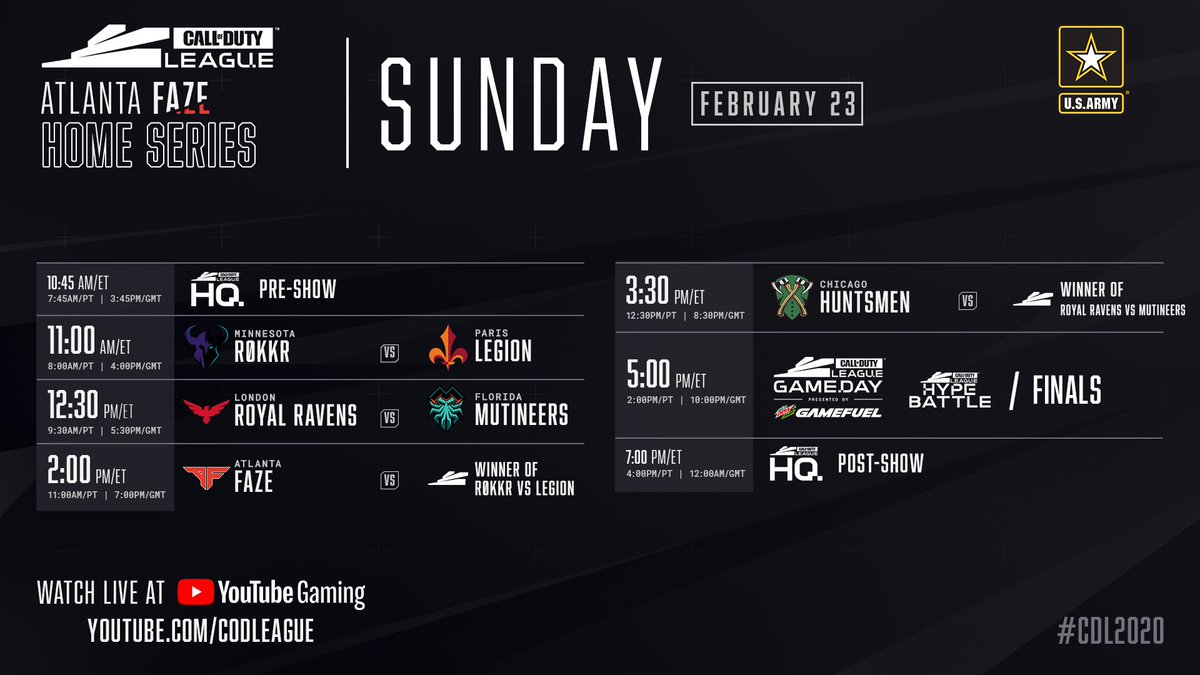 Sunday at the Call of Duty League Atlanta Home Series: Six teams chasing the top prize of $50,000 and 50 CDL Points! Watch the live stream at youtube.com/watch?v=1afh2K… #CDL2020