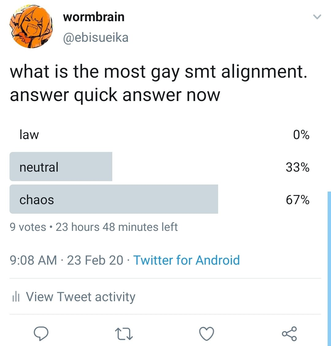 im so glad i hard the prescience to cap it cause someone voted law right after pic.twitter.com/tTFx86fv2H