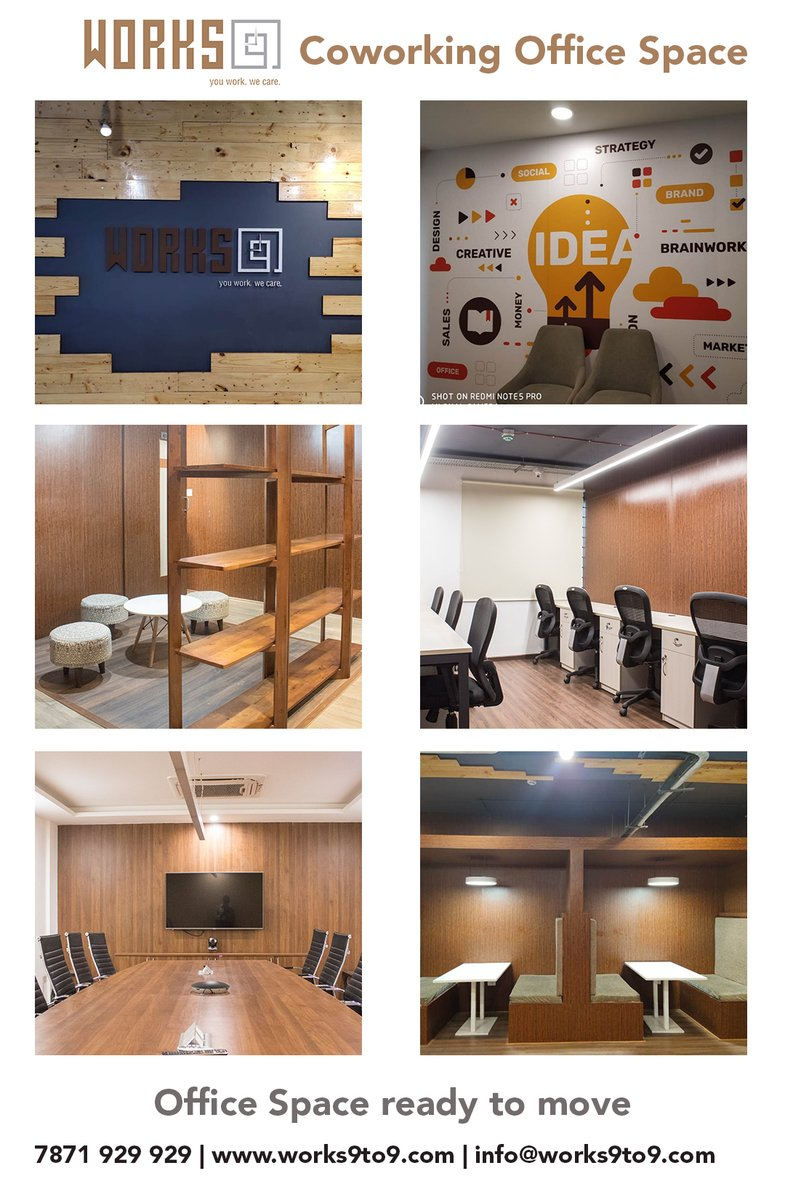 #works9to9  Coworking office space  Office space Ready to move For more details call 7871 929 929 https://works9to9.com   #coworking #business #officespace #rent #coworkingspace #workspace #fullyfurnished #sharedofficespace #success #works9to9 #startups #plugandplayofficespace #pic.twitter.com/ZlHR45sqtB