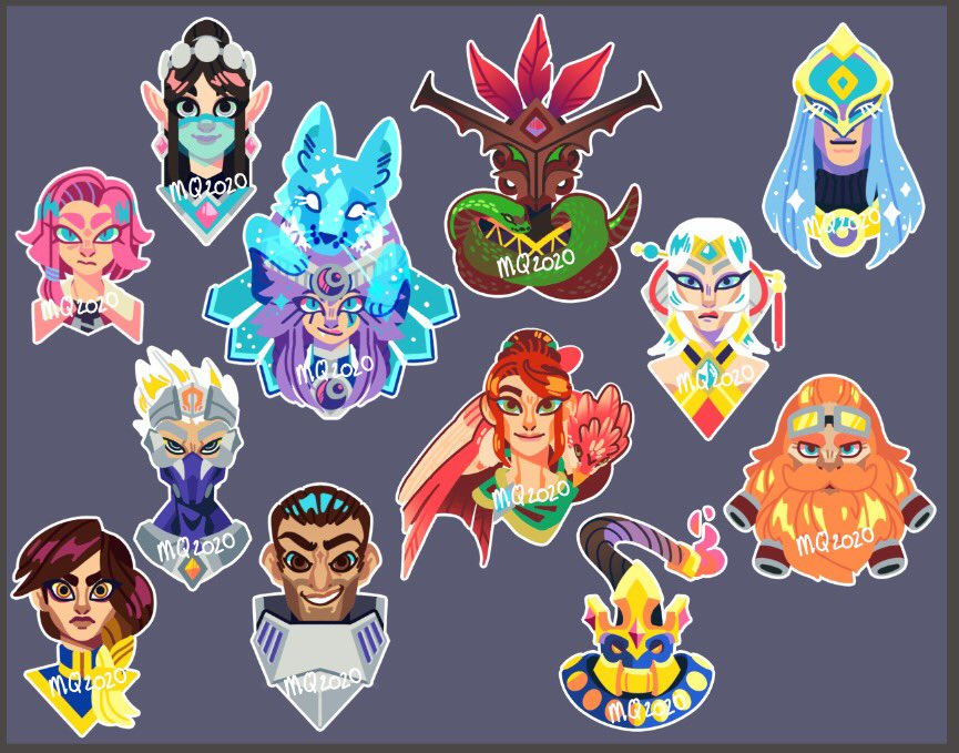 Sticker concepts I have so far. I won't actually make stickers for them unless I get permission from HiRez tho cause that's not legal I don't think. It started out as an attempt to simplify IO. @PaladinsArt #Paladinsart #paladins