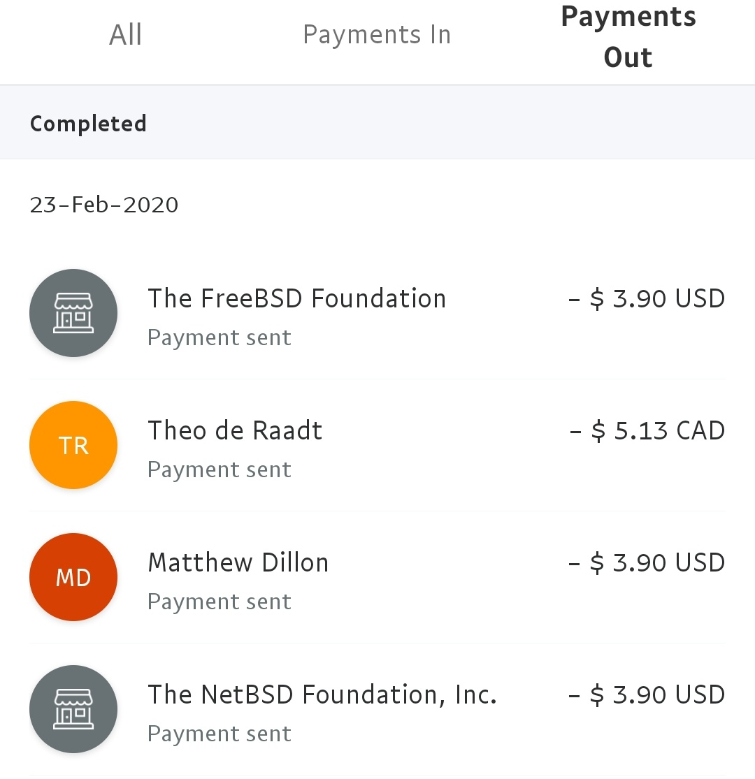 Total Recieved [2018-2019]: +15.73 USD Donated to each foundation : -(3.90 + fee) USD Link to stickers : http://jaypatelani.redbubble.com  #DragonflyBSD #FreeBSD #NetBSD #OpenBSD pic.twitter.com/1exm184gzk