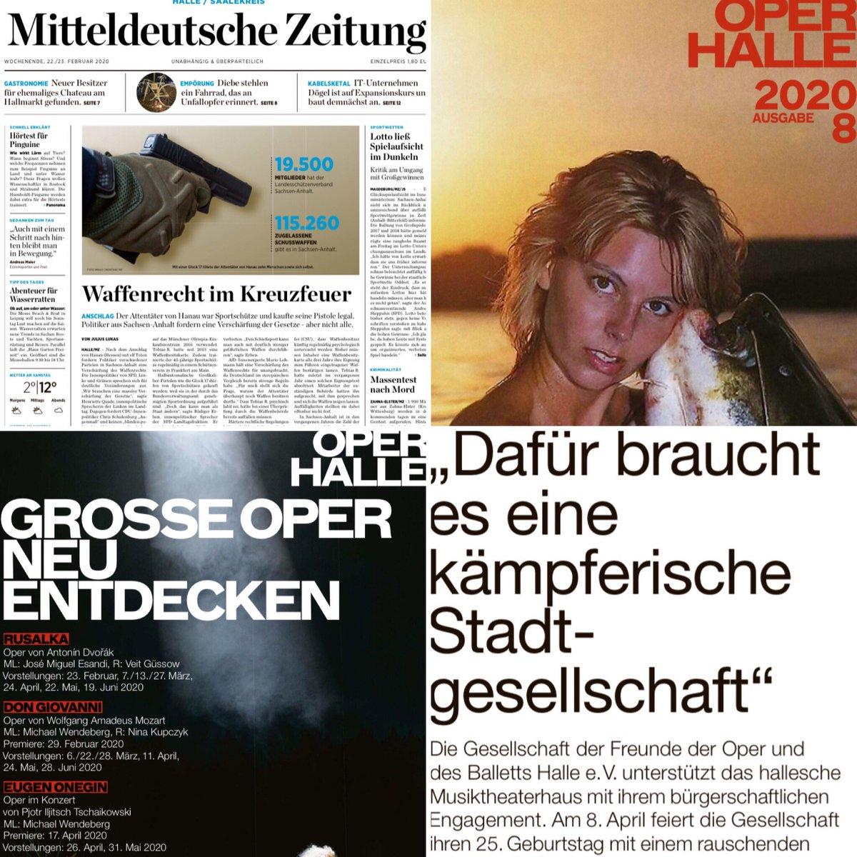Für kulturinteressierte Leser  lohnt sich an diesem Wochenende die Lektüre der #MitteldeutscheZeitung ganz besonders. Heute in der Ausgabe #Halle beigelegt, die 8. Ausgabe des Programms der @OperHalle. Erinnert grafisch ein wenig an das stilprägende #jetzt-Magazin.