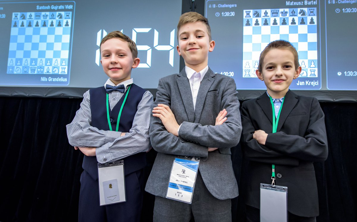test Twitter Media - Remember these faces! They are the future of Czech chess 🇨🇿.  From left to right: Karel Brozka (2045), Jachym Nemec (2069), and Vaclav Finek (2220), the highest-rated 10-year-old in the world.   📷 by Petr Vrabec #chess #prodigy #picf2020 @PragueChess https://t.co/q962JsZh3p