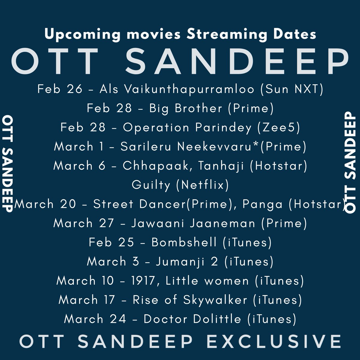 Follow @OTTSandeep for exclusive updates:  Upcoming movies and their streaming dates. What we mention below are mostly confirmed dates. Which we didn't mention we don't know about them. #AlaVaikunthapurramloo. #SarileruNeekevvaru. #Chhapaak. #Tanhaji. #BigBrother. #StreetDancer. <br>http://pic.twitter.com/octtquAOGu