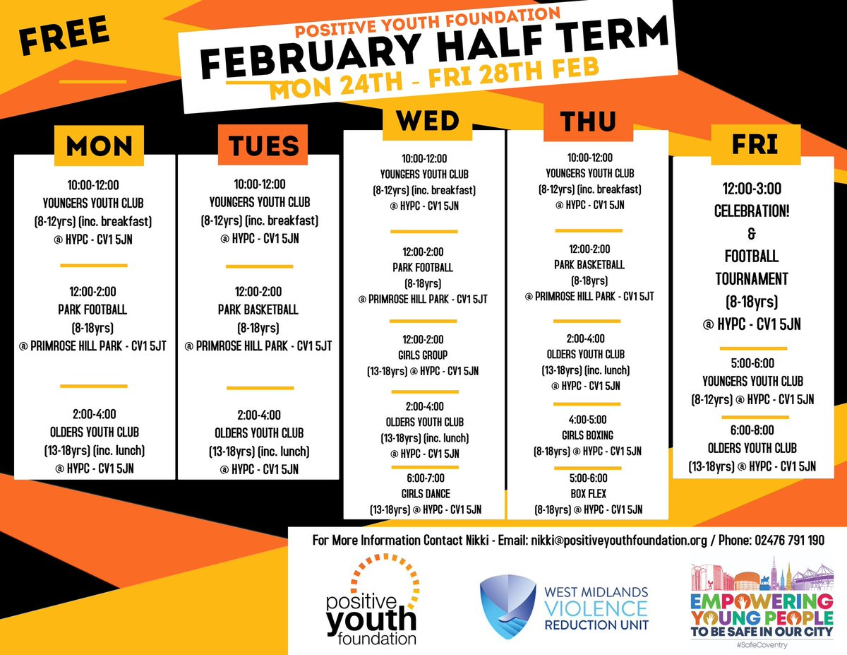 Plenty of provision for young people this half term thanks to support from @WestMidsVRU