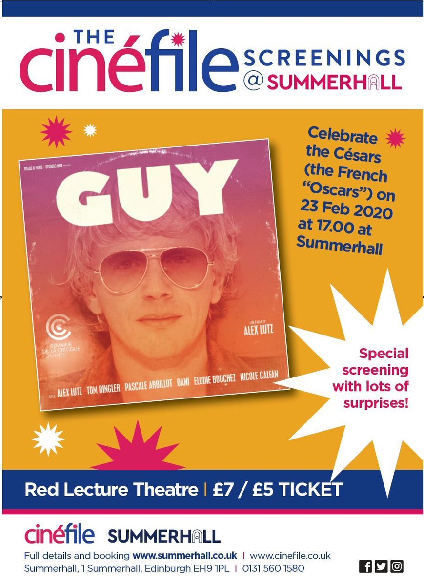 We're looking forward to today's screening of GUY at @Summerhallery (5pm). With an intro by @ShirazSidhva + the chance to #WIN dinner for two at Chez Jules there's lots going on.  Get your  nowhttps://www.summerhall.co.uk/event/guy-screening/…  #FrenchFilm #FrenchCinemapic.twitter.com/LsY9nOeeKv