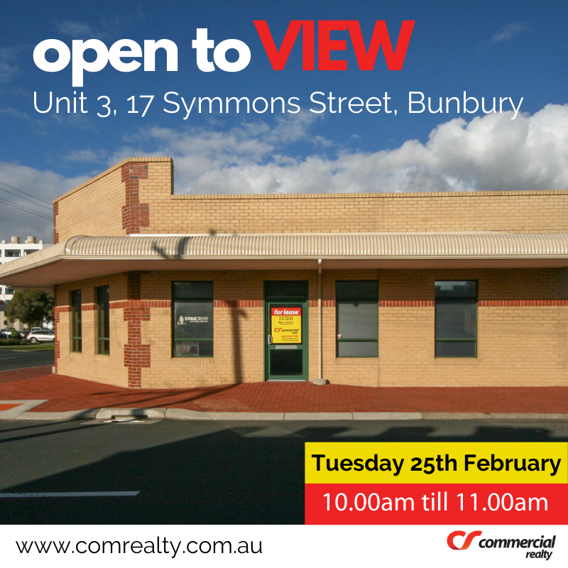 Open to View - Unit 3, 17 Symmon Street, Bunbury ... Tuesday 25th February 10.00am till 11.00am. https://buff.ly/37gGsOy . . . . . . . #realestateagent #realtor #commercialproperty  #enquiretoday #propertymanagement #officespace #realestateinvestor #realestatelife #forleasepic.twitter.com/YL4KDbnu3w