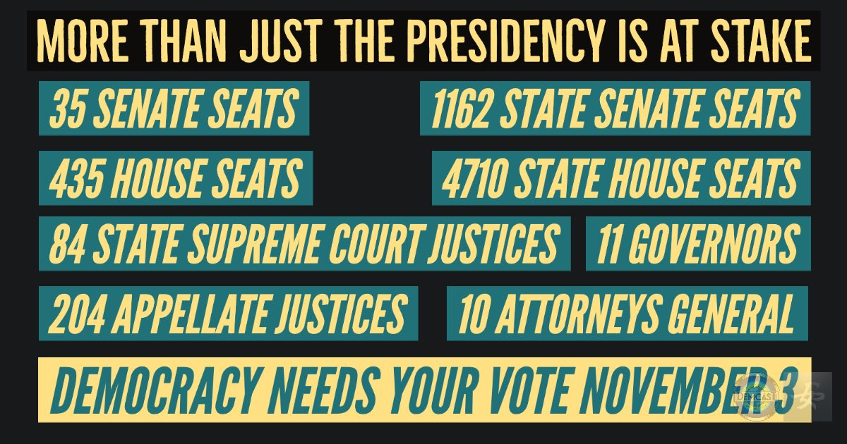 No matter who you support for POTUS, America needs you as engaged as possible through November.  Seats up for grabs: 35 US Senate 435 US House 1162 State Senate 4710 State House 84 State Supreme Court 11 Governors 204 Appellate Judges 10 State AGs  Focus. Save Democracy. #DemCast<br>http://pic.twitter.com/F1BjVPMntL