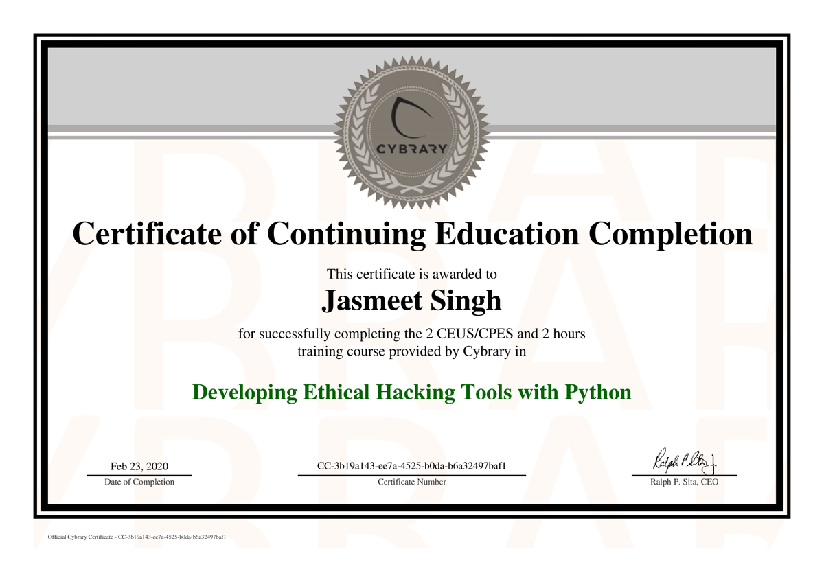 Completions CERT from @cybraryIT I like very Much to Join and Learn new Things from @cybraryIT  #cybersecurity #python #programming #developing #tools #cybrary #infosec #tech #creating #creative #newtech #certpic.twitter.com/mYpBvT0nFX