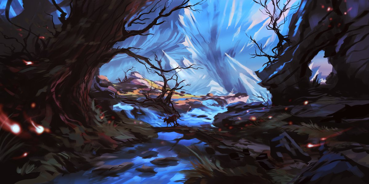Dangerous path #digitalart #digitalpainting #krita #fantasy #speedpaint #environment #fairytale #deer#tree #waterfall #ice