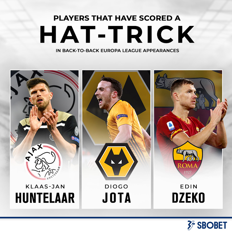 Klaas-Jan Huntelaar, Edin Dzeko and Diogo Jota are the only players to have scored back-to-back hat-tricks in the Europa League.  #UEL