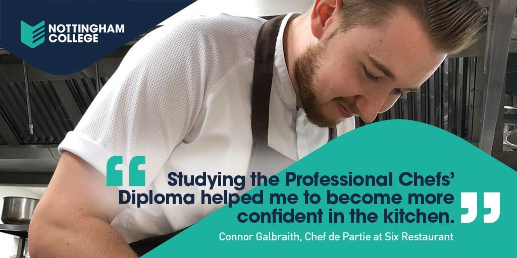 Here's the latest of  @NottmCollege #catering #alumni - Connor Galbraith. Another #inspirational ex-#student making it in #catering & #hospitality Connor is Chef de Partie at Restaurant Six @dineatsix Study full time with us for a real career!