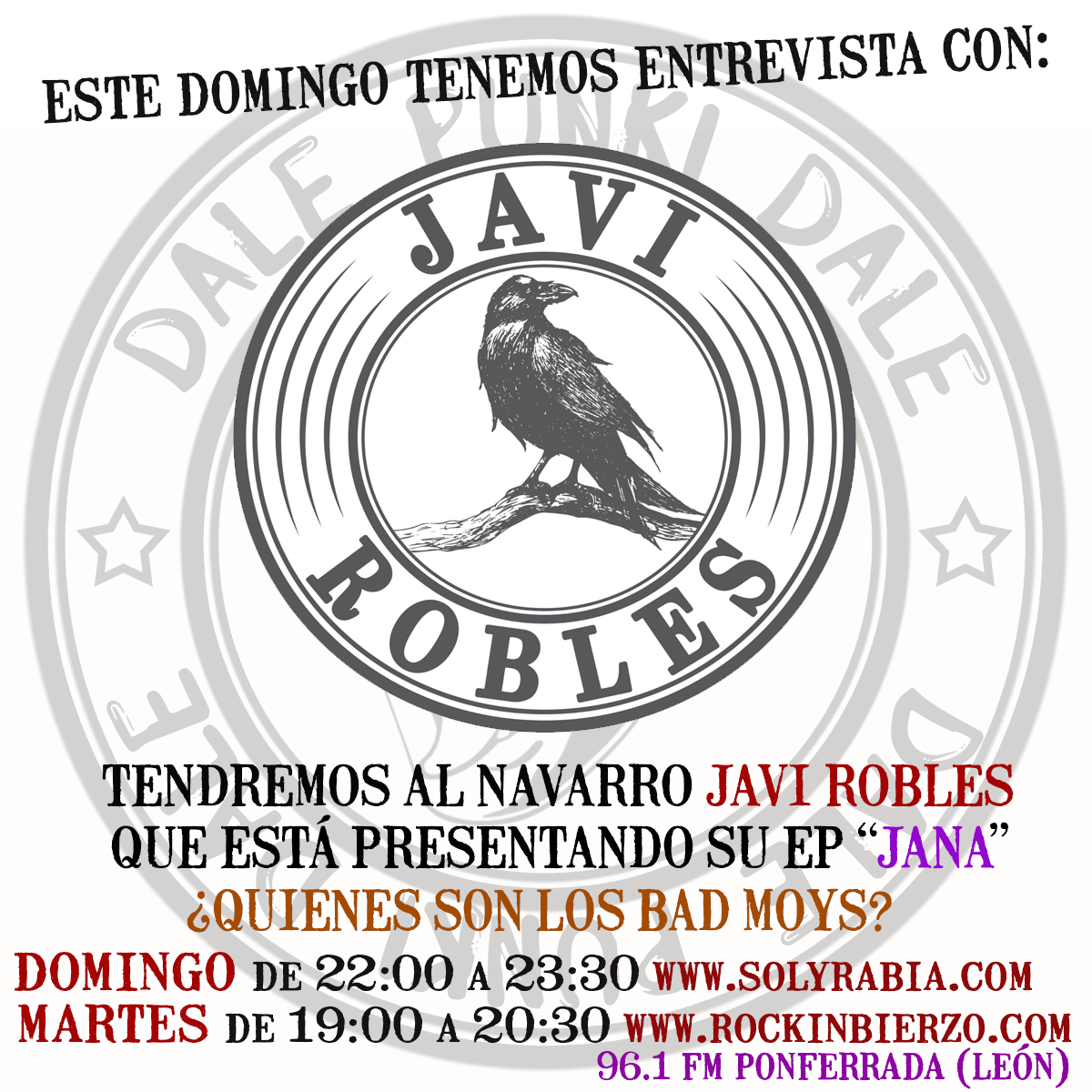 A las 22:00 h el programa @dalepunkidale viene con entrevista a Javi Robles para hablar de su primer EP https://t.co/augJlg2POJ