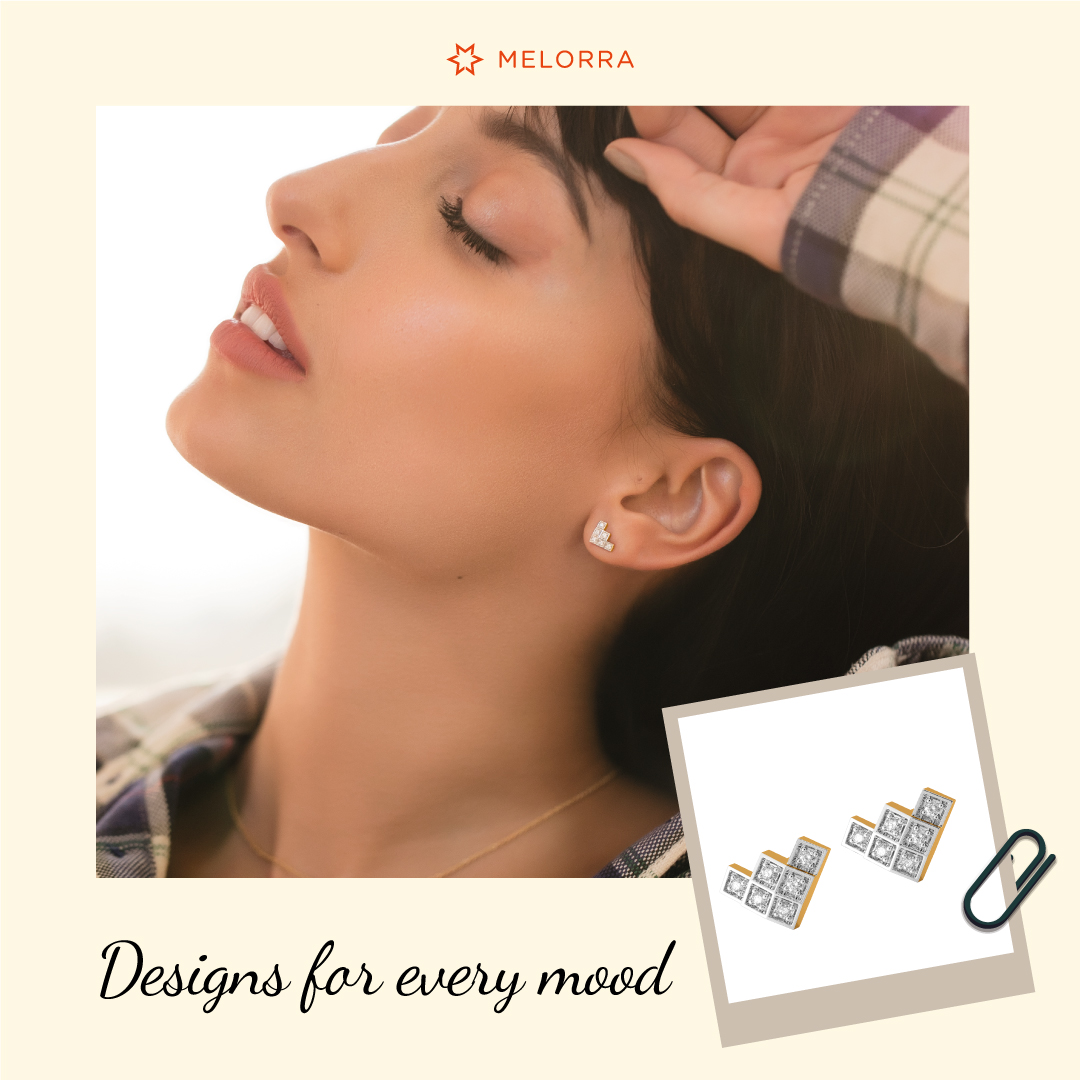 From the #DiamondDiaries!  Dear Diamond, You truly sparkle my mood!  Shop for the 'Check Choice' diamond studs that perfectly suit your everyday styles >   #Melorra #EverydayFineJewellery #DiamondJewellery #Studs #LightweightJewellery