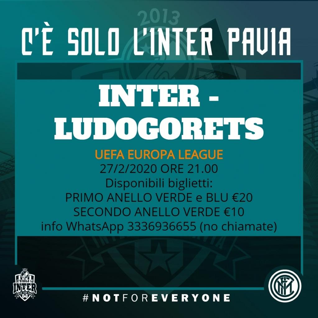 #InterLudogorets #UefaEuropaLeague #UEL Giovedì 27 febbraio h 21 a #SanSiro Disponibili biglietti: primo anello verde e blu €20 secondo anello verde €10 Info/richieste per soci #InterClub via WhatsApp 3336936655 #Inter #ForzaInter #FCIM iscrizioni club: http://bit.ly/InterClubPavia