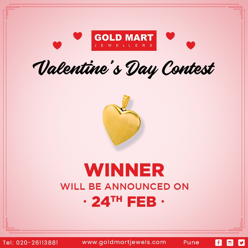 We thank you all for participating in our #ValentinesDayContest. We will be announcing 1 lucky winner tomorrow. Stay tuned for more updates!  Team #GoldMartJewellers @sangeetagold
