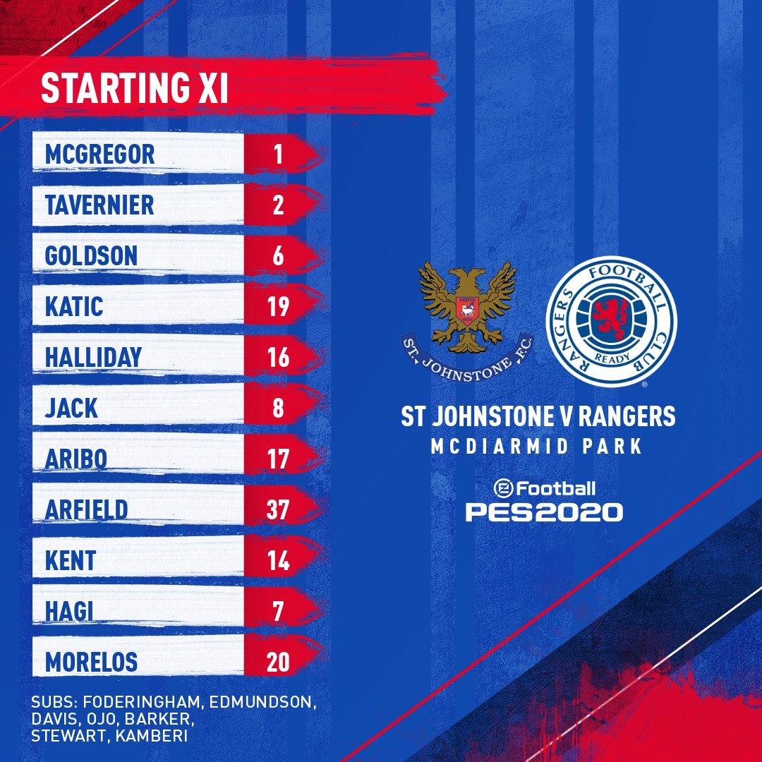 🆕 Today's #RangersFC team to face @StJohnstone.