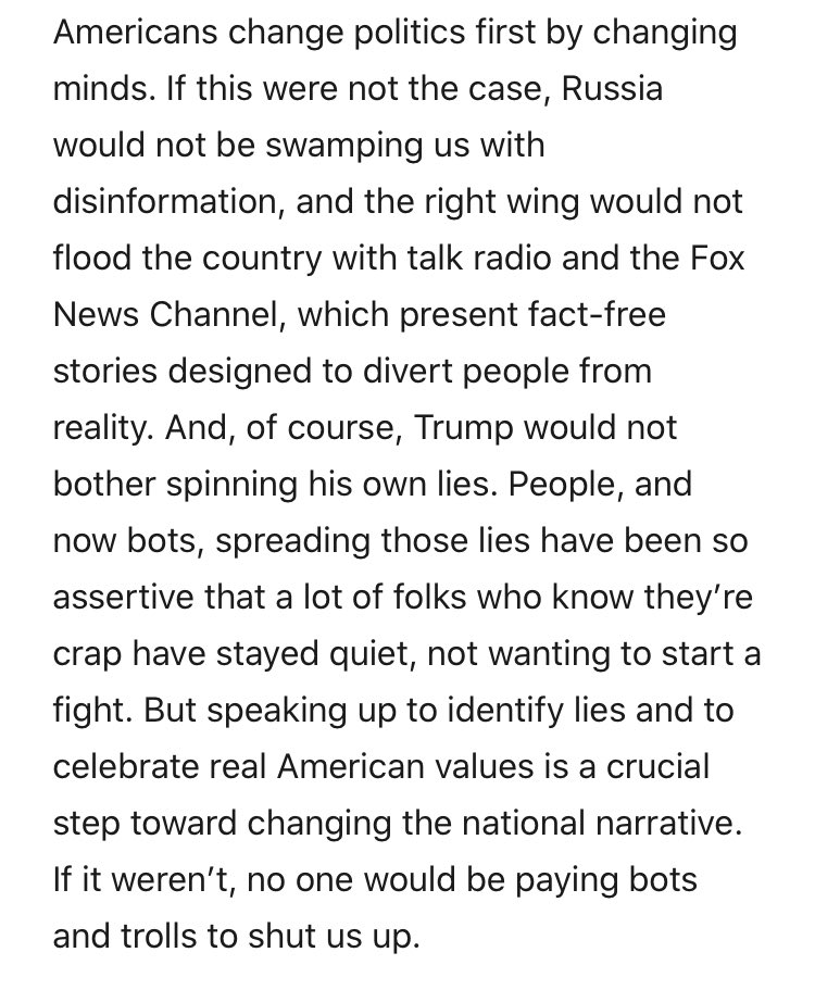 Letters from an American (by @HC_Richardson) is particularly good today. Speak up! Let your voice be heard!