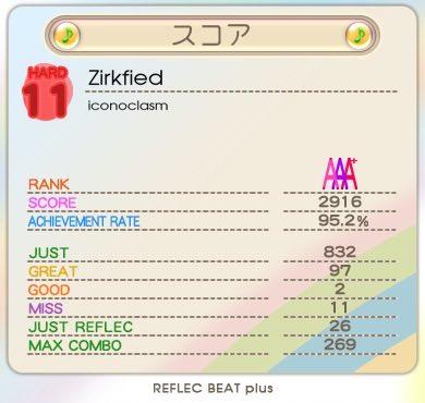 Zirkfiedをプレー! Score:2916 AR:95.2 #rb_plus 案外まだ出るもんだな