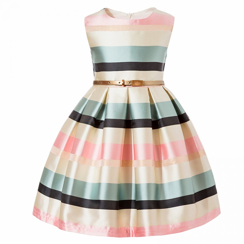 #pretty #adorable Girl's Striped Sleeveless Dresses