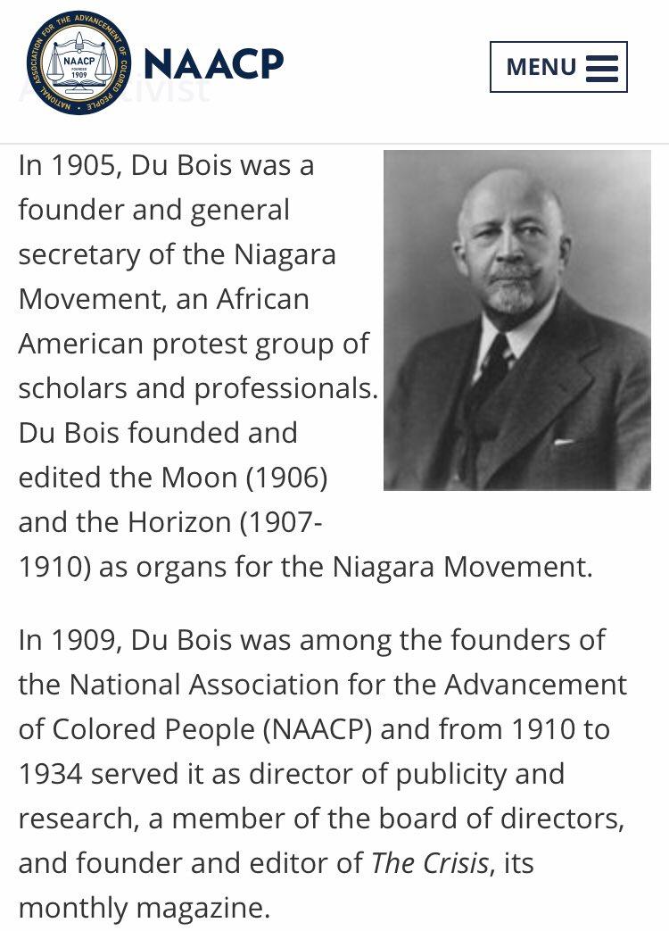 #TodayInBlackHistory 2/23 #HBD #WEBDuBois #sociologist #historian #Pan-Africanist #author #NAACPCoFounder @NAACP ! @melanin_network @barbs73 @HistoryHeroes @Sifill_LDF @TheJLV @historianspeaks @TheRoot @thegrio see: https://www.naacp.org/naacp-history-w-e-b-dubois/…