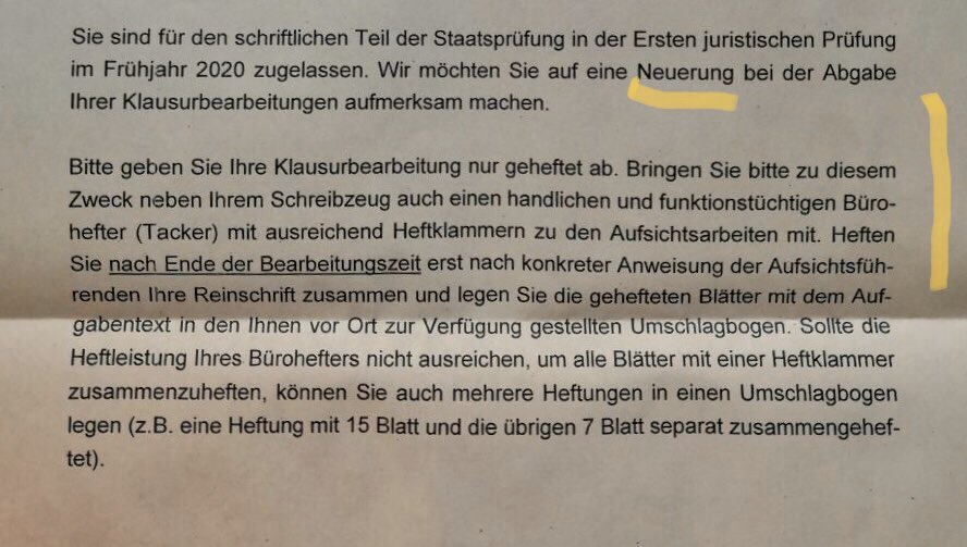Bitte beachten! Für die Jura-Prüfungen in Baden-Württemberg hat das Landesjustizprüfungsamt jetzt die neuesten Tacker-Regeln bekanntgegeben!pic.twitter.com/XyH73Gvuz5