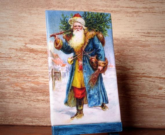 "Miniature #Christmas Canvas ""Santa Claus with Fir Tree"" adds a festive look to your Dollhouse -   #christmas"