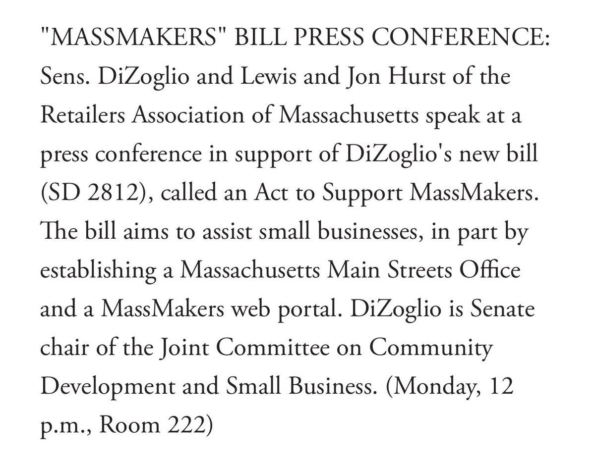 Excited to unveil my comprehensive bill to support small businesses tomorrow! #MassMakers @SenJasonLewis @JonHurstRAM @MA_Senate @BECMAinc @EagleTrib @HaverhllChamber @lawrencepartner @newburyportnews<br>http://pic.twitter.com/9fa6hCLX2L