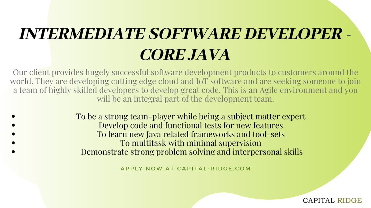 Apply at http://capital-ridge.com/site/candidates/current-searches/intermediate-software-developer-core-java-vancouver/….  #java #javajobs #javadeveloper #developerjobs #softwaredeveloper #softwaredevelopment #vancouverjobs #jobsinvancouver #jobpost #corejava #intermediatejobs #softwarejobs #techtrends #technews #techjobs #javadeveloperjobspic.twitter.com/qWwxnF0uvK