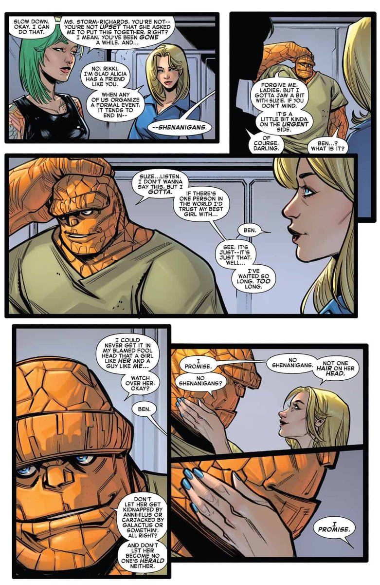 Comics is a great business,mfull if unexpected treats.  When @marvel asked me to write the Fantastic Four Wedding Special, I got to write 5 panels of Ben Grimm, and I just can't even explain how happy it made me.  I got to write the Thing, you guys.  Love this job. pic.twitter.com/Xrp8JYfAih