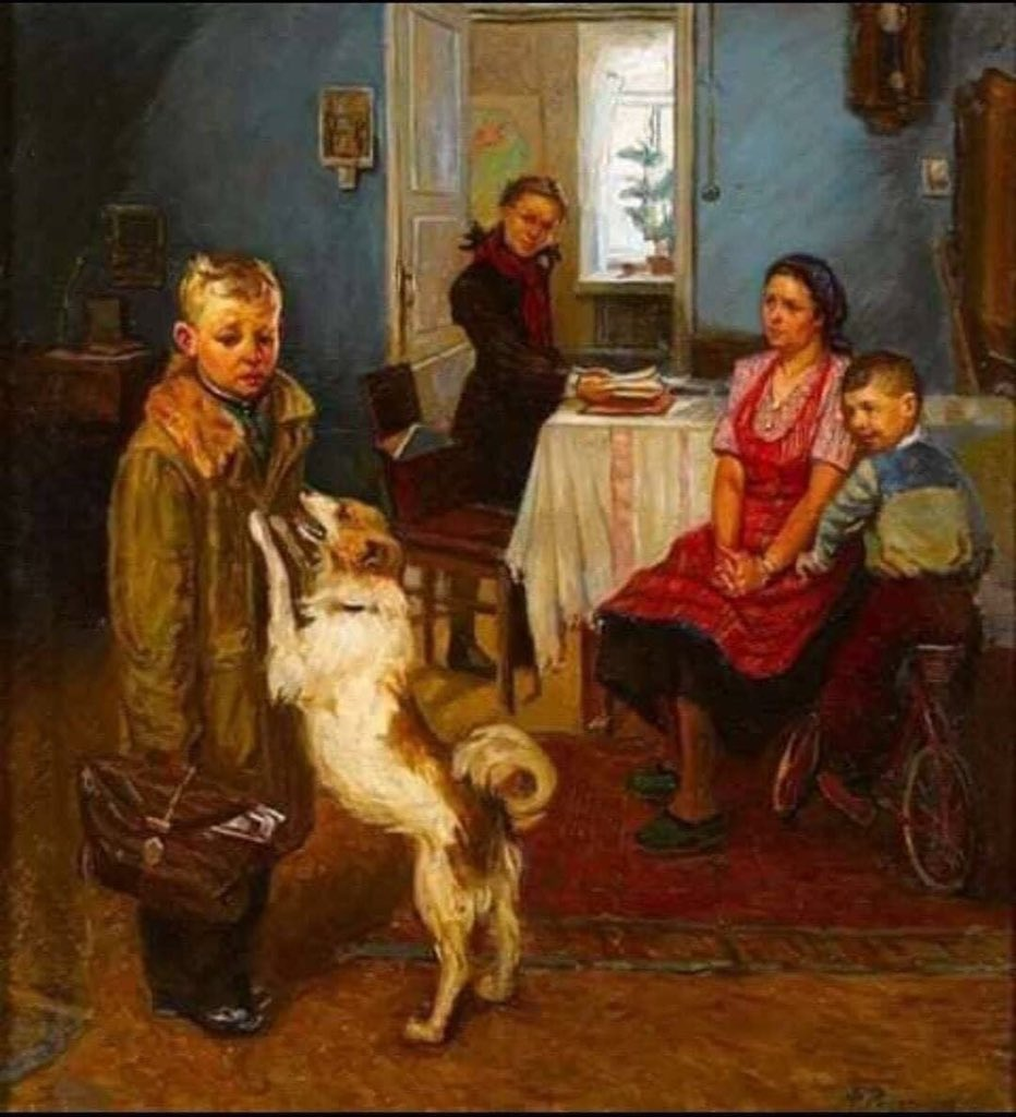 "#WednesdayWisdom Genius painting by artist ""Fyodor"" of a boy returning from school who failed, and the family looks at him and treats him with blame and his rejection The artist tells them: treat him like a dog! He loves him , for his own sake, unconditional love ... pic.twitter.com/ZxQSdXwSkB"