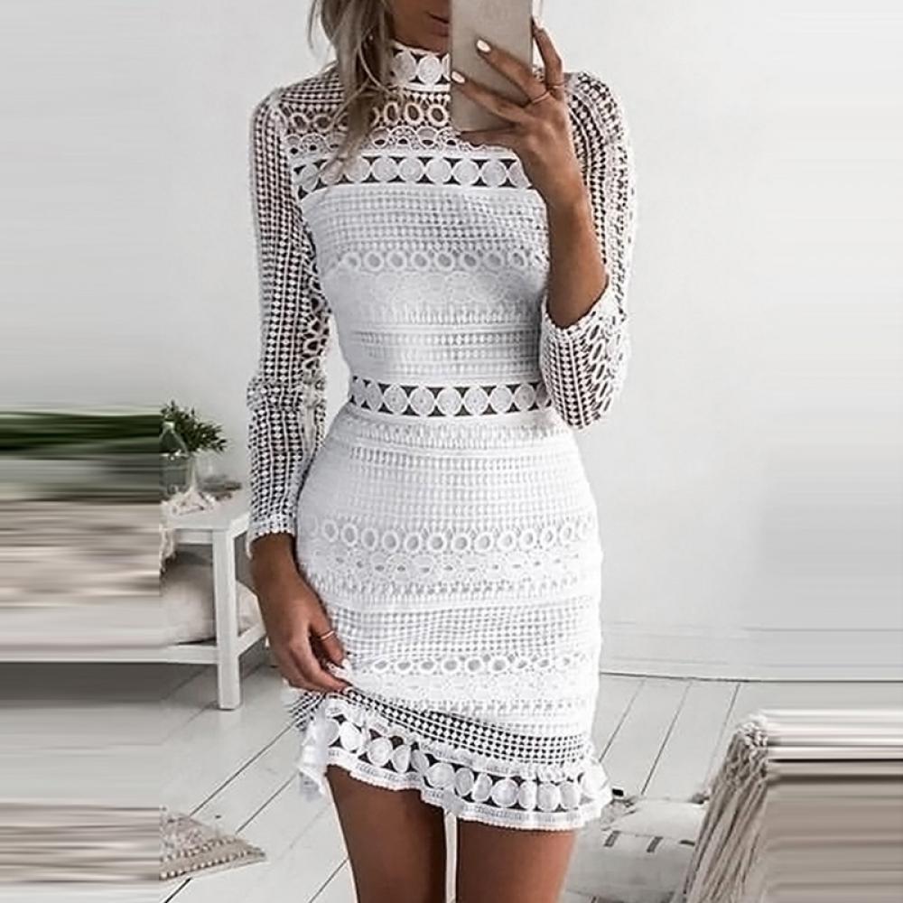 #sneakers #hair Vestido de encaje blanco ,vestidos de fiesta para mujer, vestidos elegantes para mujer, vestido ajustado de manga larga