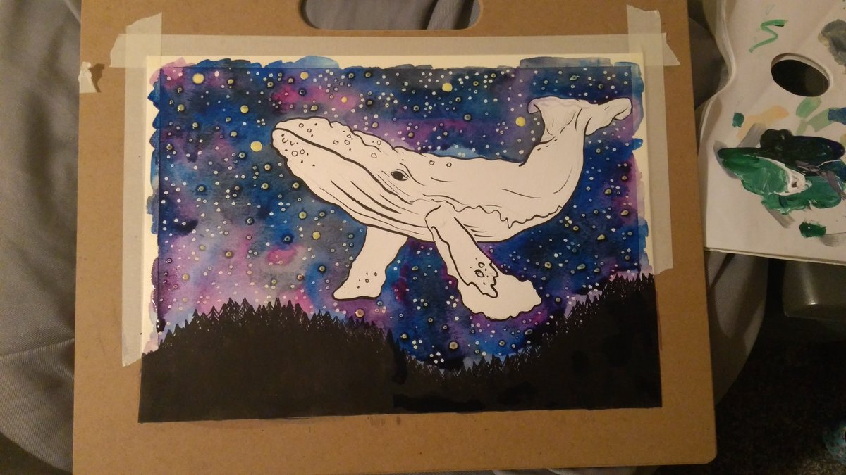 A new flying whale watercolour painting in progress  #wip #whalepainting #galaxy #whale #paintinginprogress pic.twitter.com/MqI4UyTrPy