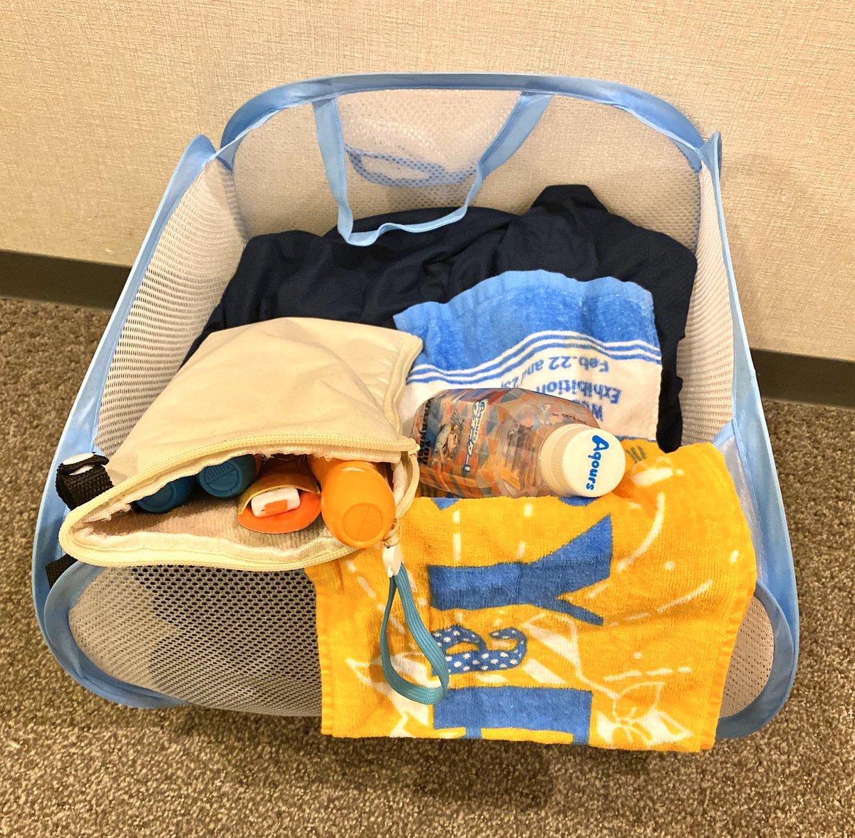 Twitterで「100均のランドリーバッグをライブ中の荷物入れに使うと最高」ってツイートを見たので今回試してみたんですけどマジ最高でしたね…椅子の下に入れれば上着は汚れないで済む、すぐ取り出せるようにブレードタオル飲物入れておける、折り畳める物もあるので荷物にならない(軽い)…