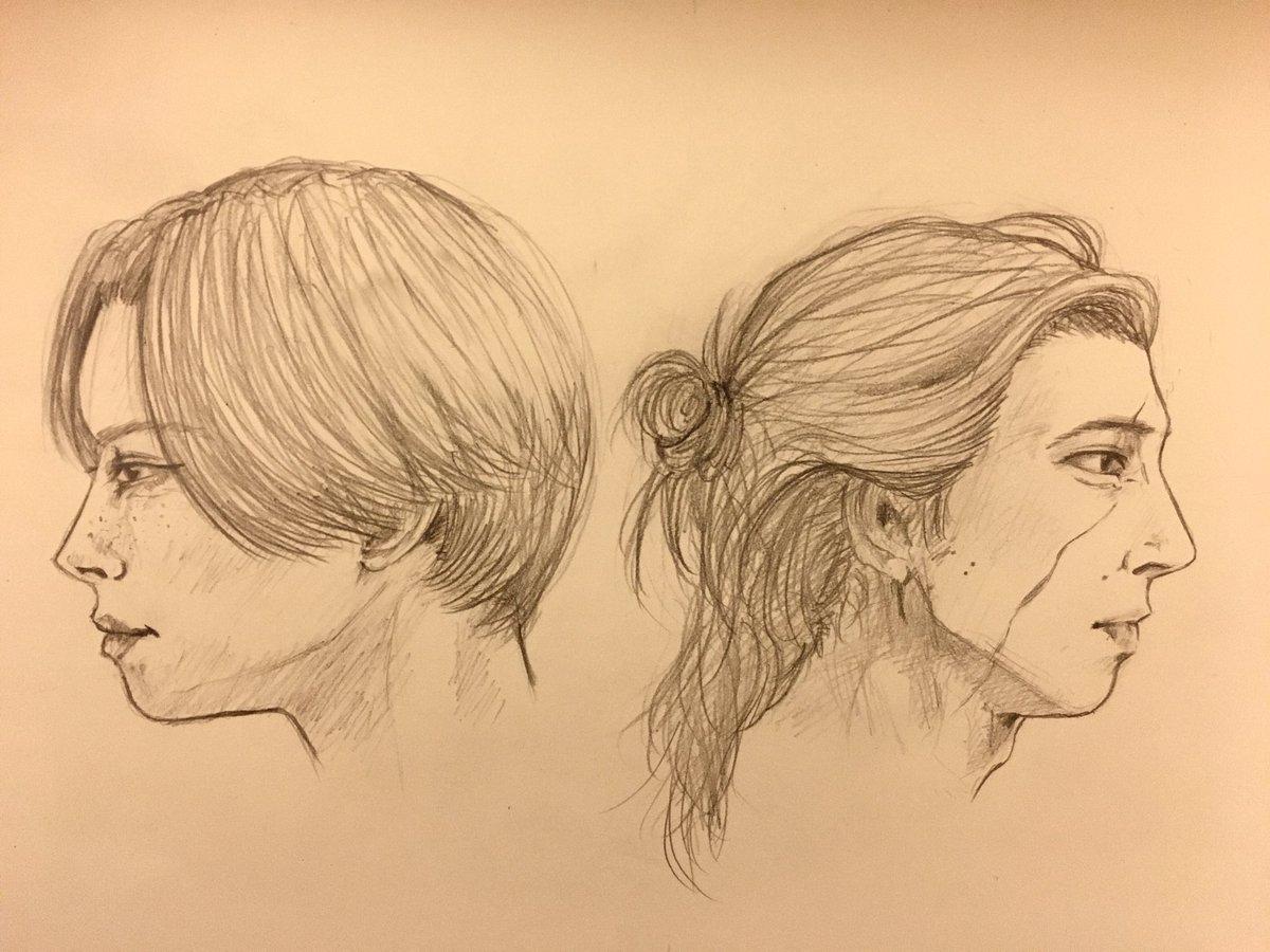 長髪のカイロ・レンと言うパワーワードを見つけてしまって、描きたくなったやつ。長髪レン君と短髪レイちゃん。髪型変えると誰だかわからん😇 #reylo #bensolo #ReyloLove #Rey #reylofanart