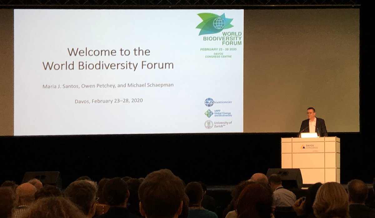 So @WorldBioForum kicks-off! Michael Schaepman welcomes everyone to the opening plenary. Many colleagues have gathered to think hard about new targets and solutions for #biodiversity change.