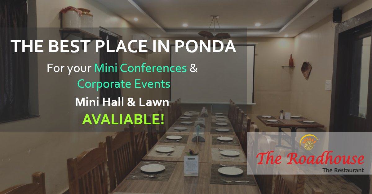 "At the Roadhouse Restaurant Ponda we provide you the best of ambience for your private or corporate events. We offer a variety of seating's: ""VASARI"" ""VARANDA"" ""VATIKA"" #eventsroomhospitality   #birthday  #corporateevents  #privateevntspic.twitter.com/foAmtT1S3b"