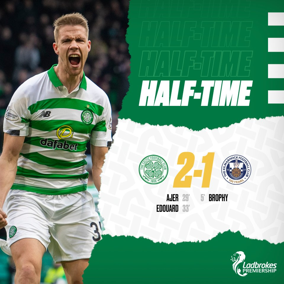 We come back from a goal behind to go in with the lead at the interval - keep pushing, Bhoys! 👊🟢 #CELKIL #SPFL