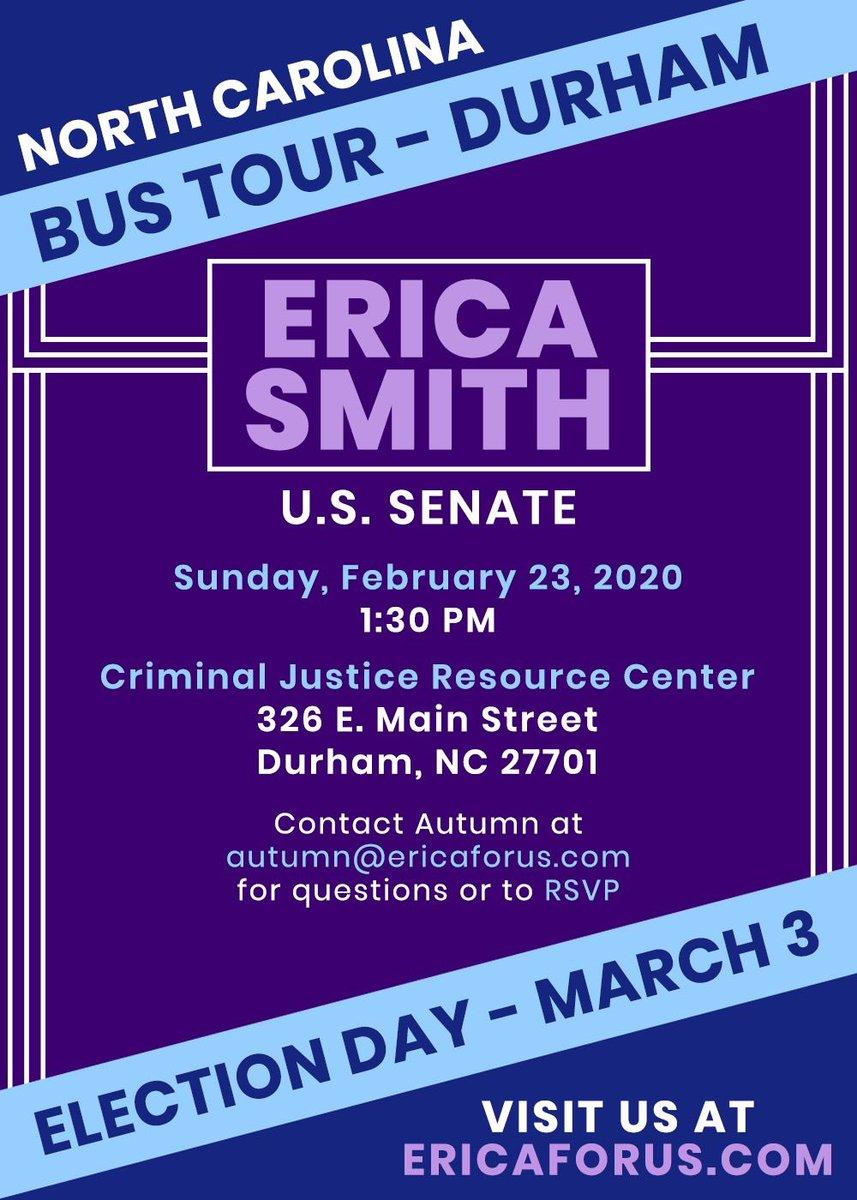 @EricaforUSSen20 Durham Van Stop at 1:30