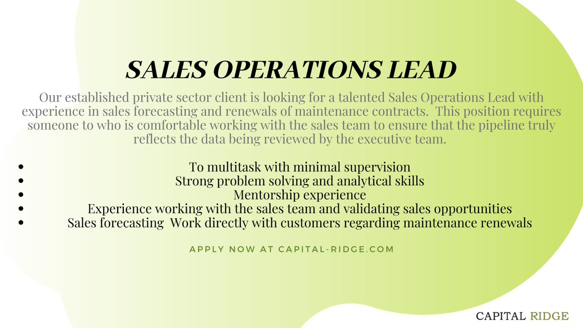This position requires you to be an intergral part of the operational team. Apply at http://capital-ridge.com/site/candidates/current-searches/sales-operations-lead/….  #salesjobs #leadership #operationjobs #jobpost #techjobs #salesoperations #technews #techskills #techtrends #salesnews #salestrends #salesskills #jobsinsales #ottawapic.twitter.com/pmMVjrnYtx