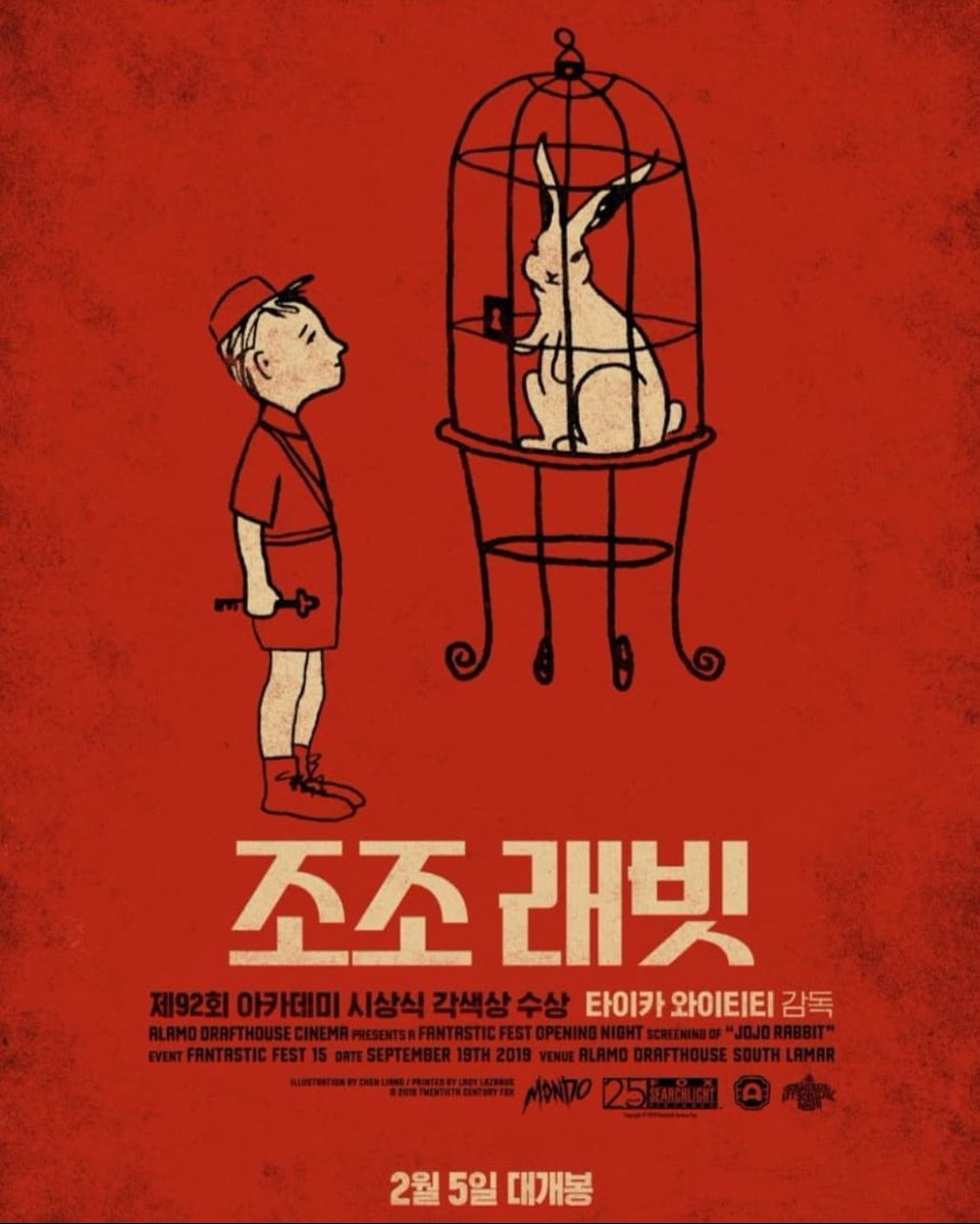 Very cool Korean #filmposter for @jojorabbitmovie   You can see Jojo holding the Key of St. Peter here as a little Easter egg for The Two Popes connection.pic.twitter.com/Xm7VyW34s0