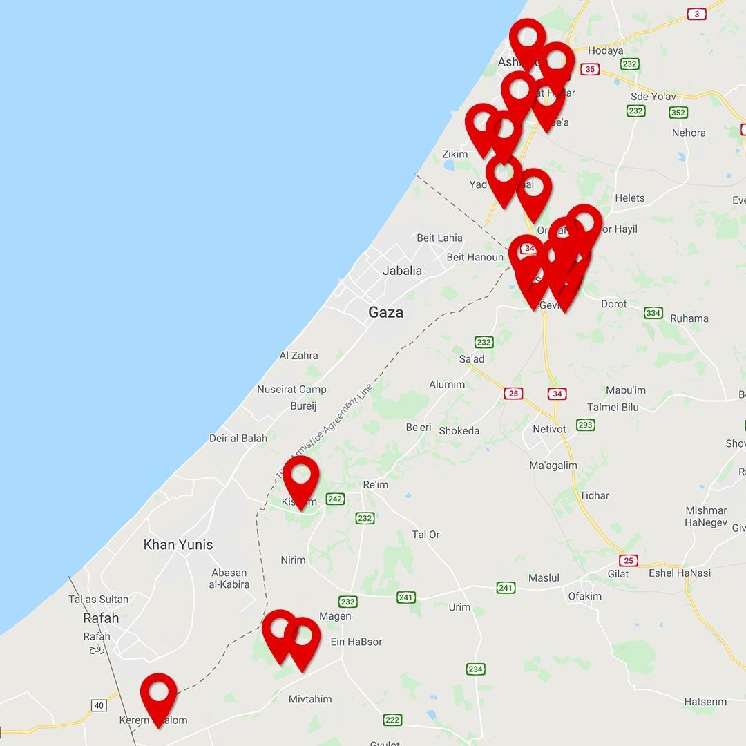 Une salve de 20 roquettes vient d'être tirée depuis #Gaza sur #Israël.  Une dizaine de roquettes ont été interceptées par le Dôme de Fer.  Cette carte montre toutes les régions d'Israël qui viennent de subir des tirs