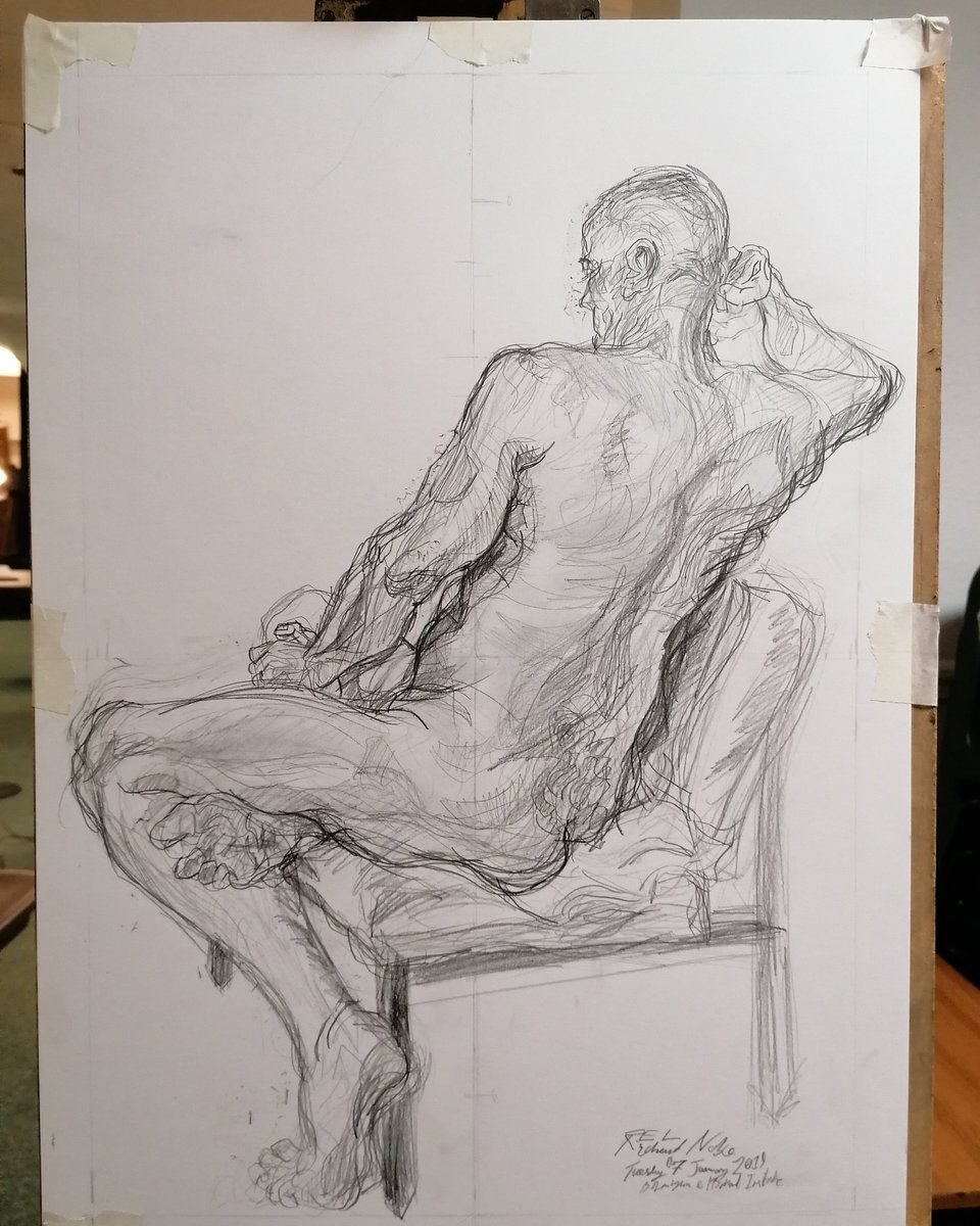 Weekly Life Drawing Tuesday 07 January 2020 Birmingham and Midland Institute.  Two and a half hour pose, male model, Pencil drawing on cartridge paper. #art #artwork #artnude #lifedrawing #lifedrawingnude #malenude #malemodel #lifestudy #drawing #pencil  #RichardNoblepic.twitter.com/UAYQ3BM7ih