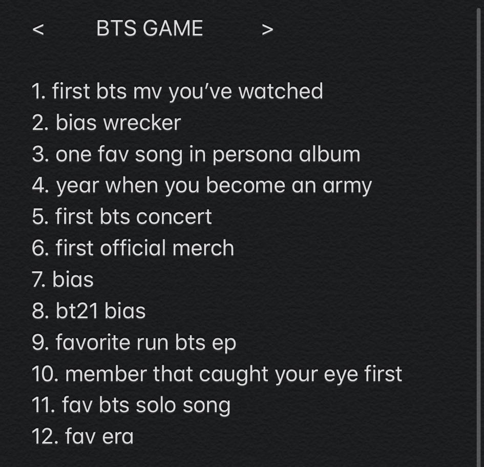<BTS GAME>  1. Dope 2. Park Jimin 3. HOME 4. 2015 5. WINGS tour in Newark 03/23-24/17 6. YNWA Repackage album 7. Ult: Yoongi // Double Bias: Seokjin&Namjoon 8. Chimmy 9. Any episode where they cook 10. Taehyung 11. Jimin- Lie and Yoongi- First Love 12. HYYH PT2 QUEEN RUN ERA pic.twitter.com/HruDPRADE9