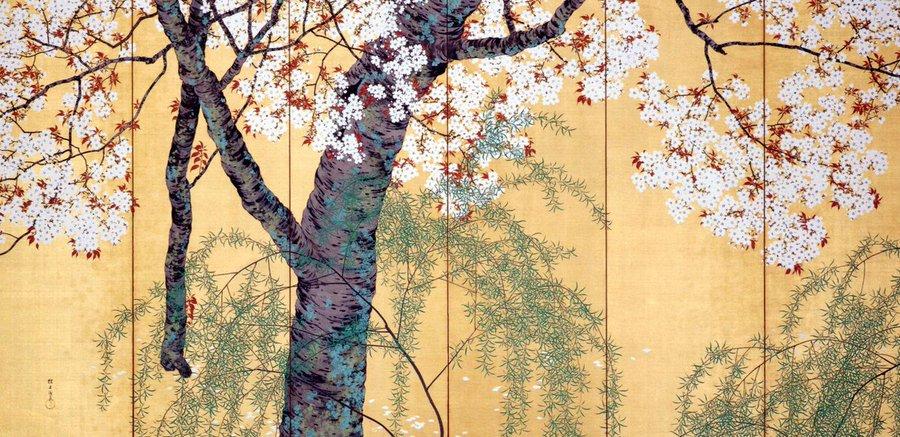 @Kunstkamera_rus . Willow & Cherry Blossoms, 1917 Konoshima Ôkoku (1877–1938) .