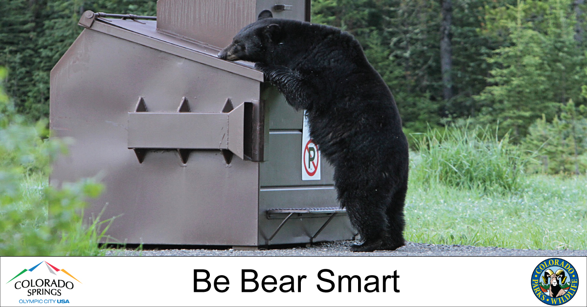 A new ordinance goes into effect March 1st that requires residents and businesses west of I-25 to secure their trash to reduce bear activity. It's time to do our part, and be #BearSmart! Details at  @COParksWildlife