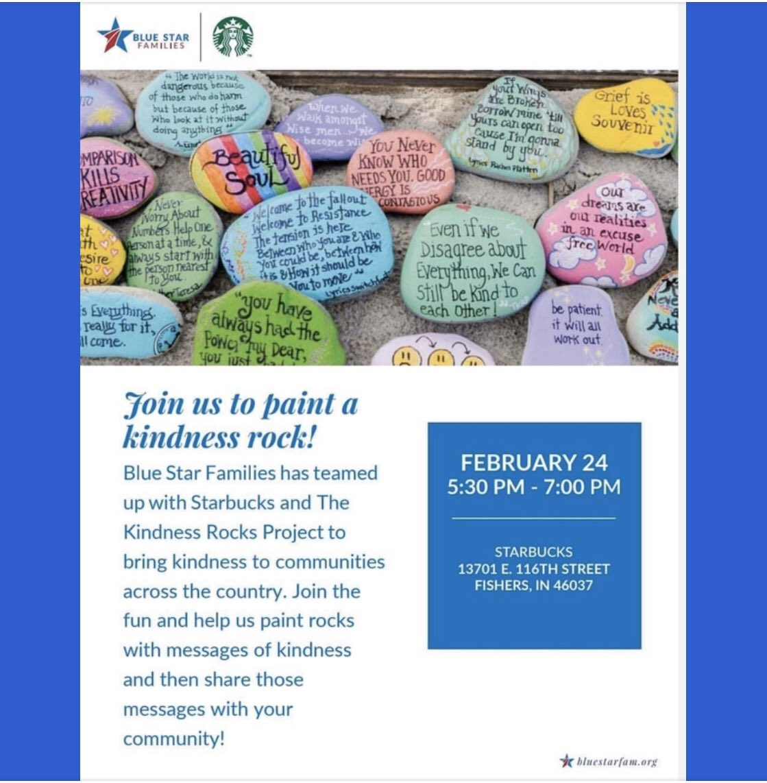We have some exciting news & events to share@starbucks has teamed up with the @bluestarfamilies & #thekindnessrocksproject  to spread some kindness in communities across the country swipe to see if an event is coming to your community soon!pic.twitter.com/e8XNT4w3K6