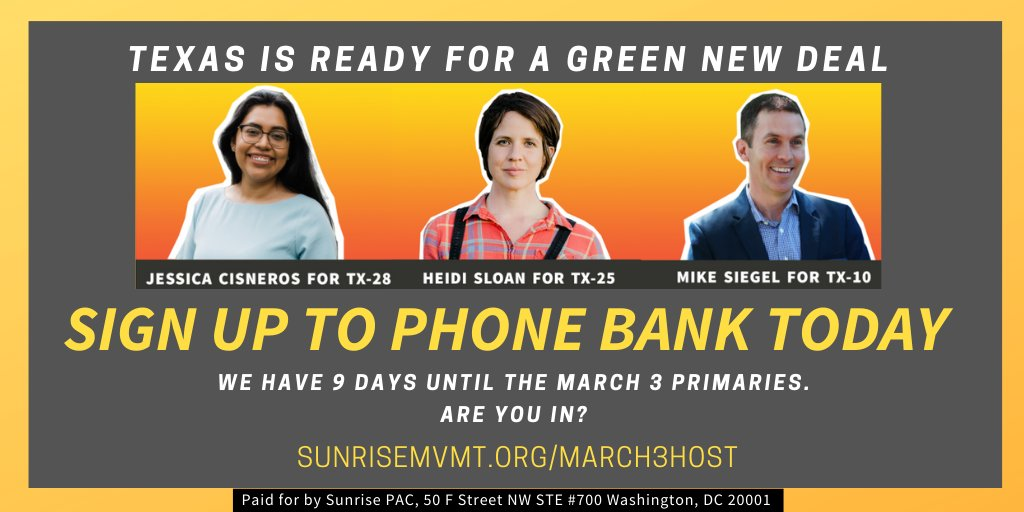 We have 9 days until the March 3 primaries. Are you in?   Sign-up to host a phone bank: https://t.co/NF6c4PLbSk https://t.co/n4Us5EwP9M