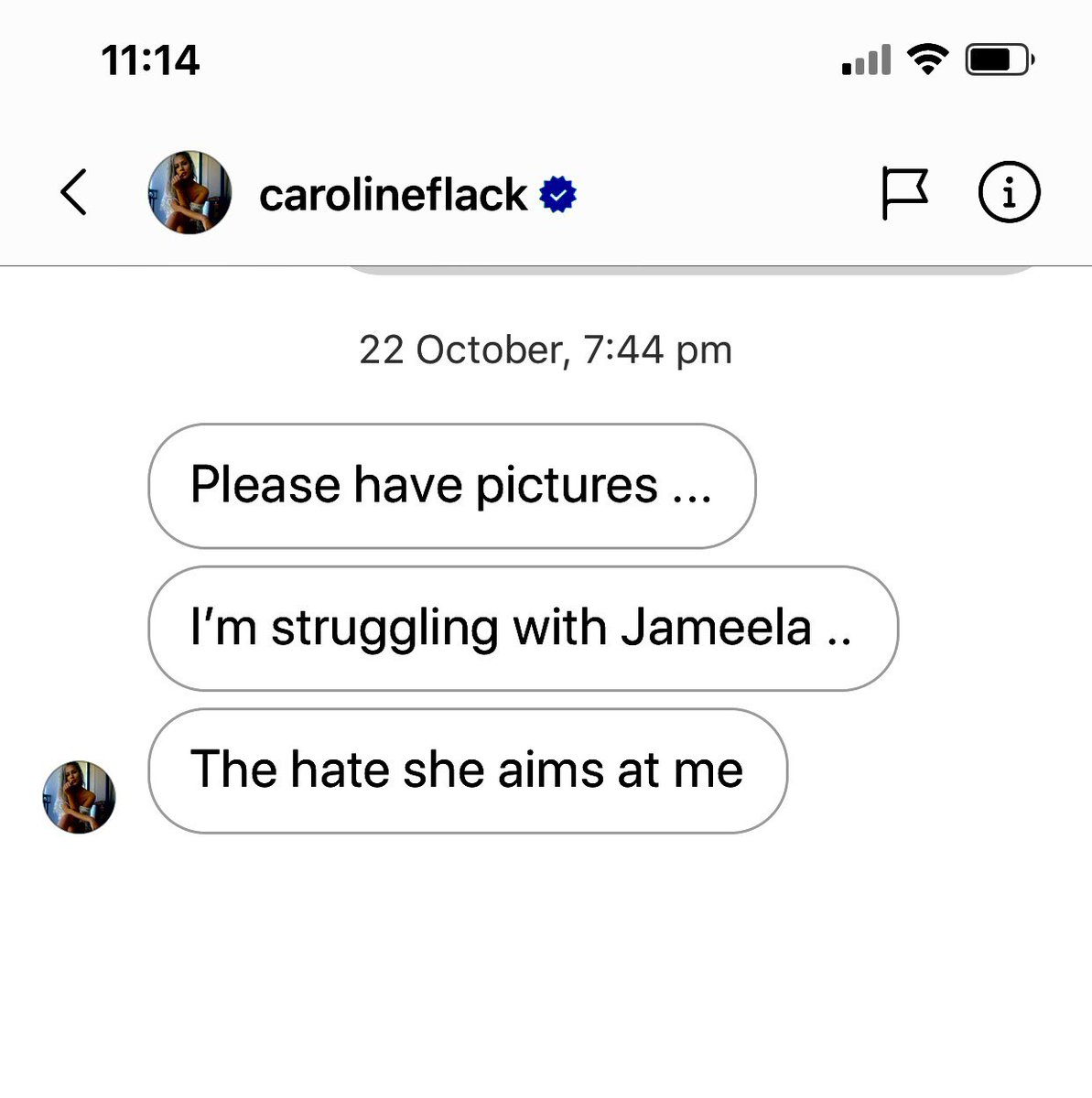 Jameela Jamil is having a lot to say about online harassment, so in the interests of balance, here is a message Caroline Flack sent me last October after the same Jameela Jamil led an online pile-on against her regarding a new TV show she was doing.