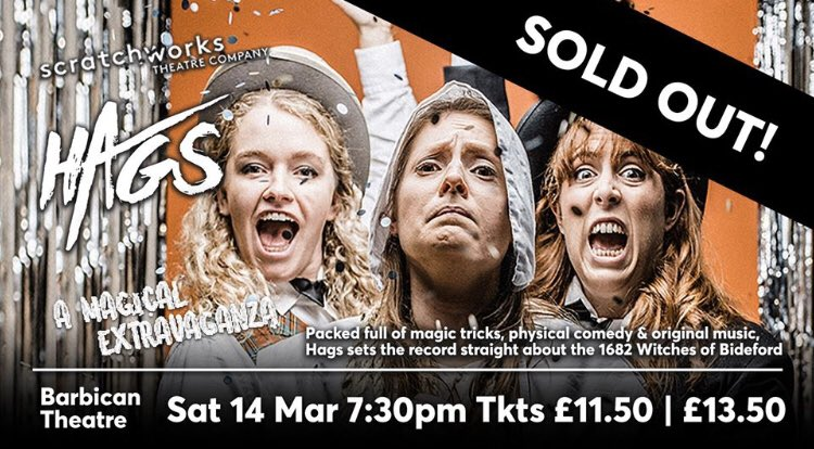 Once again @ScratchworksC Hags (14 Mar) has SOLD OUT - even though we added 35 most seats less than two weeks ago! We're thrilled for them & can't wait have the premiere the hilarious new production from our Thrive Associate Artists #LetsCreate #PlymouthTheatre @WhatsOnPlymouthpic.twitter.com/yy54yxVBn6